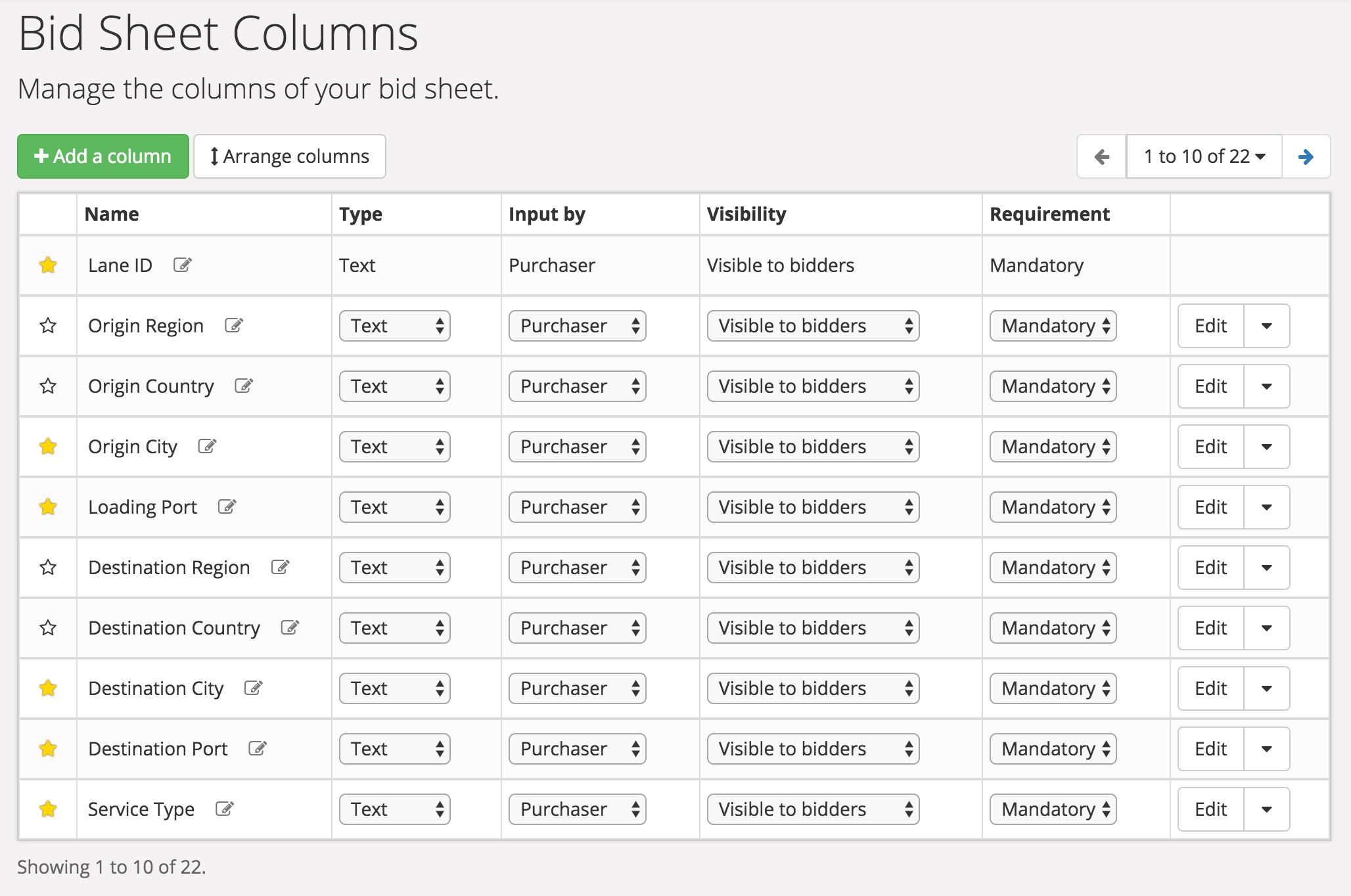 design bid sheet design keelvar support portal